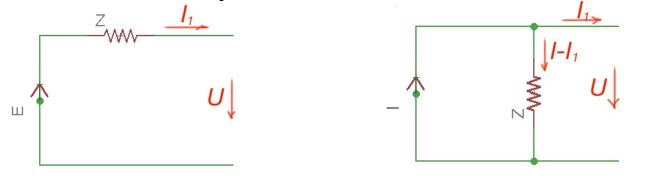 Equivalent current and voltage sources