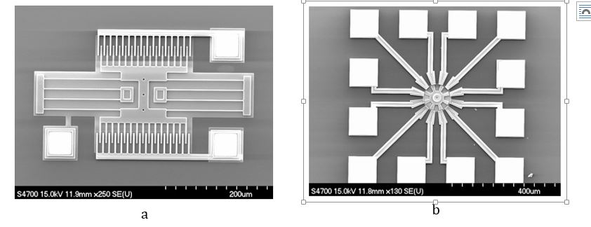 Figure 1. MEMS Resonator (a) and MEMS Actuator (b) (pictures are the property of MEMS & Nanotechnology Exchange)