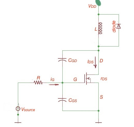 Figure 1. The equivalent circuit of turn-on process for a power MOSFET