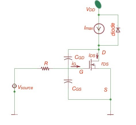 Figure 3. Equivalent scheme for turn–off MOSFET process.