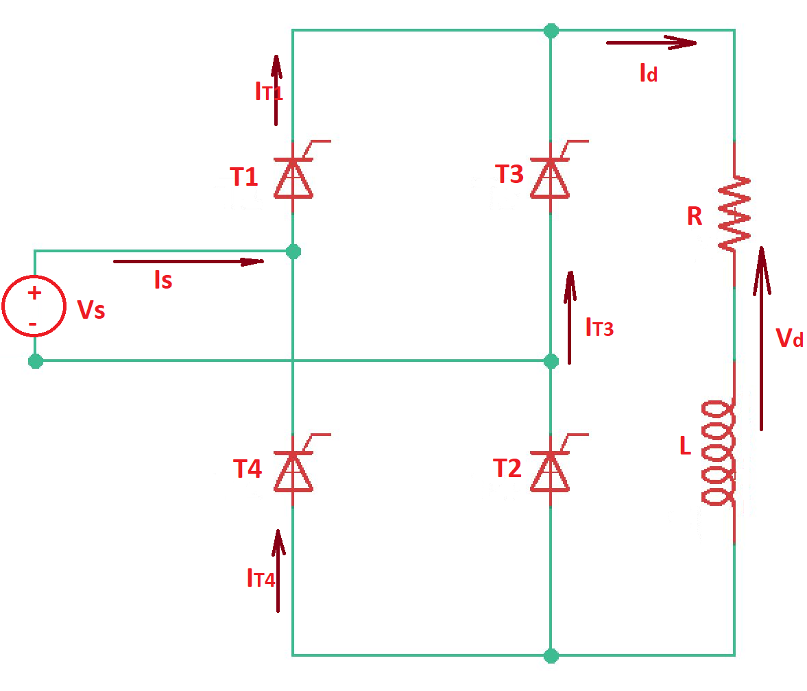 Line-commutated single-phase bridge rectifier