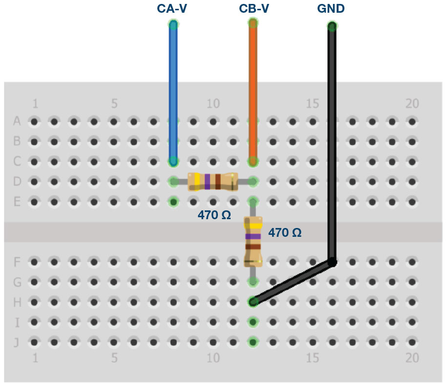 Figure 6. Rail-to-rail breadboard connections.
